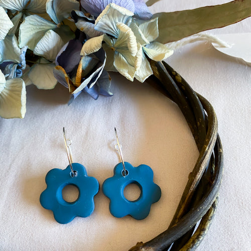 Deep Ocean Flower Hoop Earrings