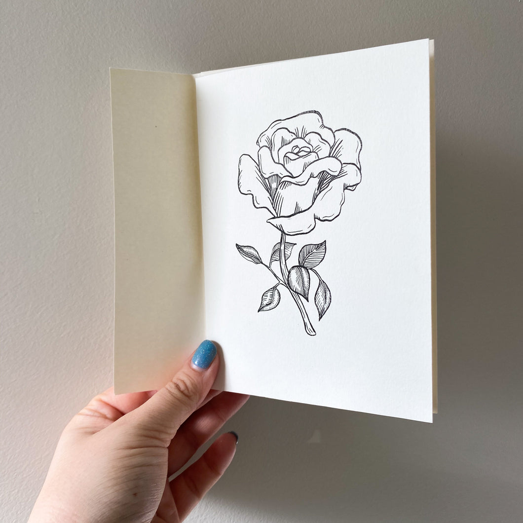A6 Rose Hand Illustrated Card