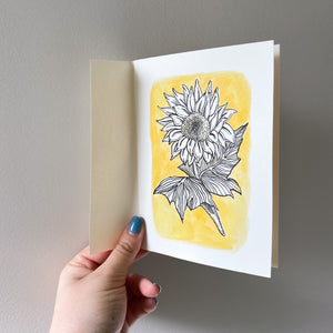 A6 Sunflower Hand Illustrated Card