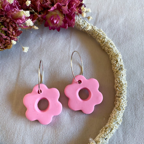 Baby Pink Flower Hoop Earrings