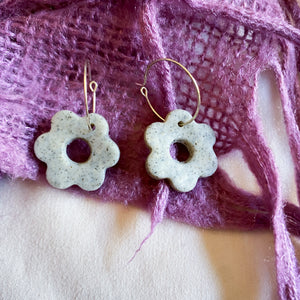 Sandy Beach Flower Hoop Earrings