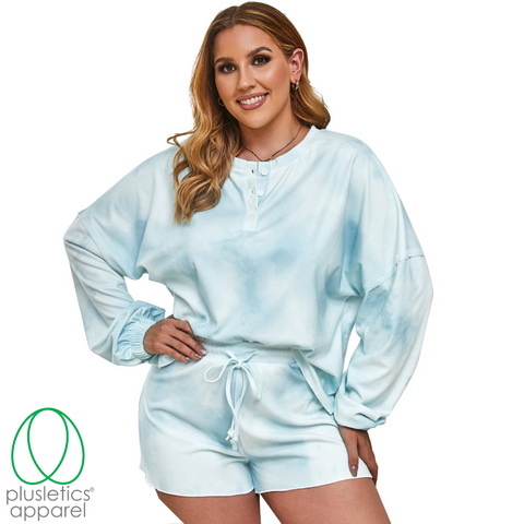 Cozy Plush - Long Sleeve Shorts Set - Azure