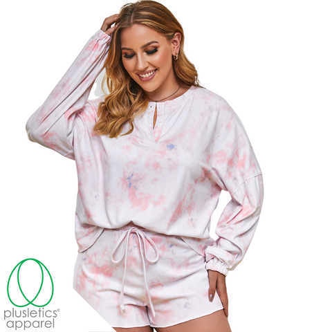Cozy Plush - Long Sleeve Shorts Set - Blush