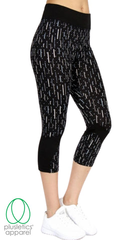 Abstract Active Capris Grey