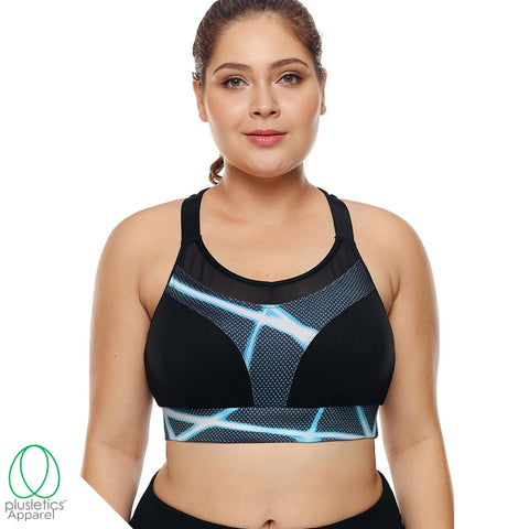 Racerback Mesh Sports Bra - Blue Lighting