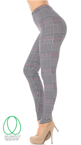Houndstooth Burgundy Accent Leggings