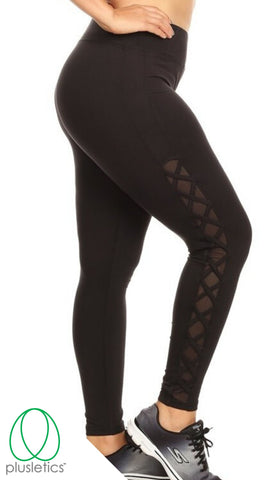 Criss Cross Mesh Leggings Black