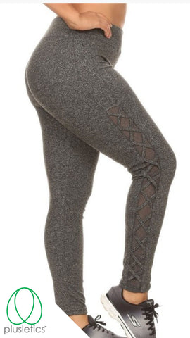 Criss Cross Mesh Leggings Dark Heather Grey