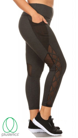 Criss-Cross Mesh Pocket Leggings - Dark Heather Charcoal