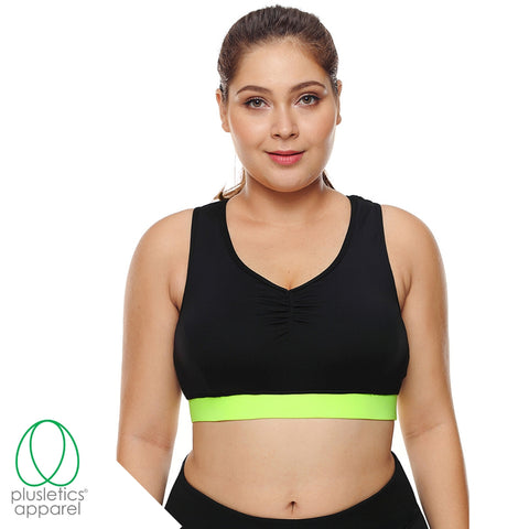 High Support Black & Lime Green Racerback Sports Bra