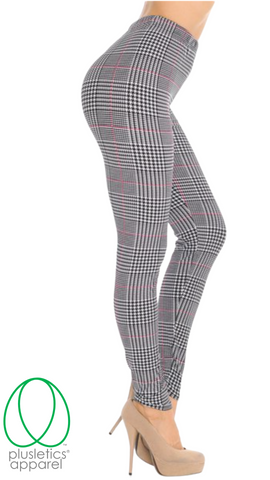 Houndstooth Burgundy Accent Plus Size Leggings