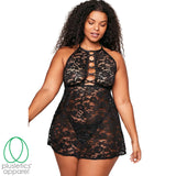 Black Lace Me Up Tonight Halter Teddy