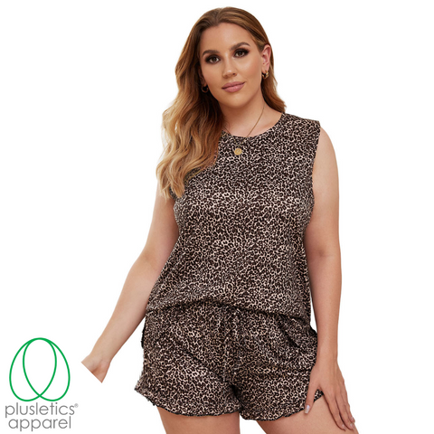 Cozy Plush - Short Sleeve Shorts Set - Leopard