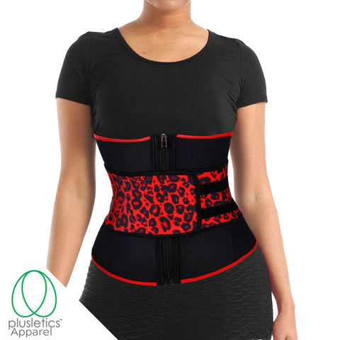 Single Leopard Snatched Neoprene Black Waist Trainer
