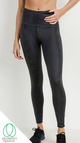 Mamba Snake Skin Leggings - Black