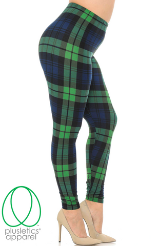 Green Plaid Leggings