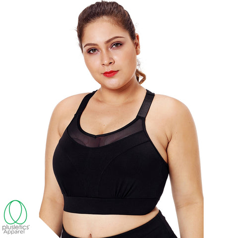 Racerback Mesh Sports Bra - Black