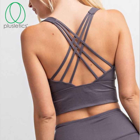Strappy Criss Cross Back Bralette & Mesh Side Leggings