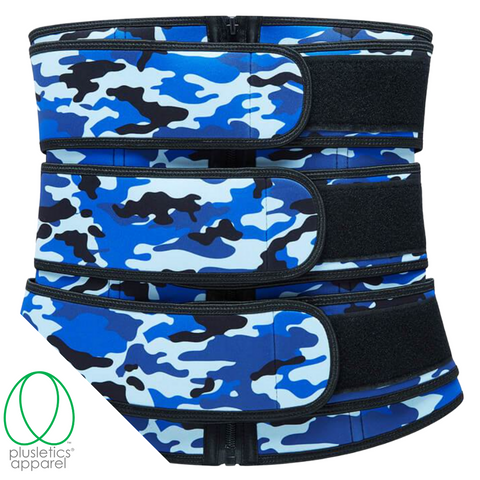 Triple Snatched Neoprene Waist Trainer - Camo Action Blue