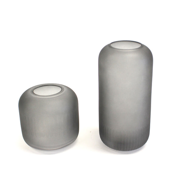 Grey Frosted Glass Vase