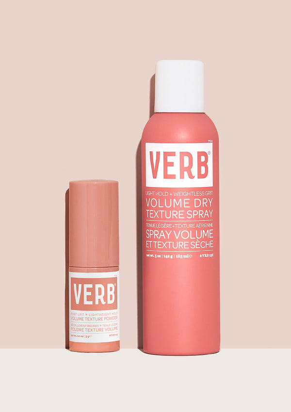 Verb Amplify and Texture Kit on a light pink background
