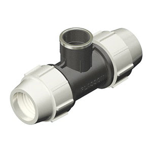 Plasson Mechanical Compression Fitting - 90 Degree Tee with Threaded Female Offtake
