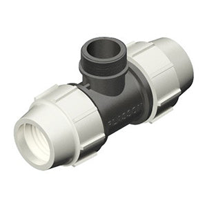 Plasson Mechanical Compression Fitting - 90 Degree Tee with Threaded Male Offtake