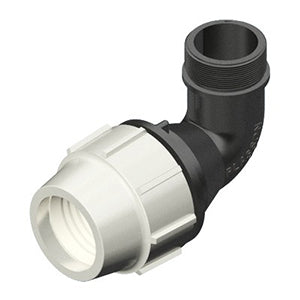 Plasson Mechanical Compression Fittings - 90 Degree Elbow with Threaded Male Offtake