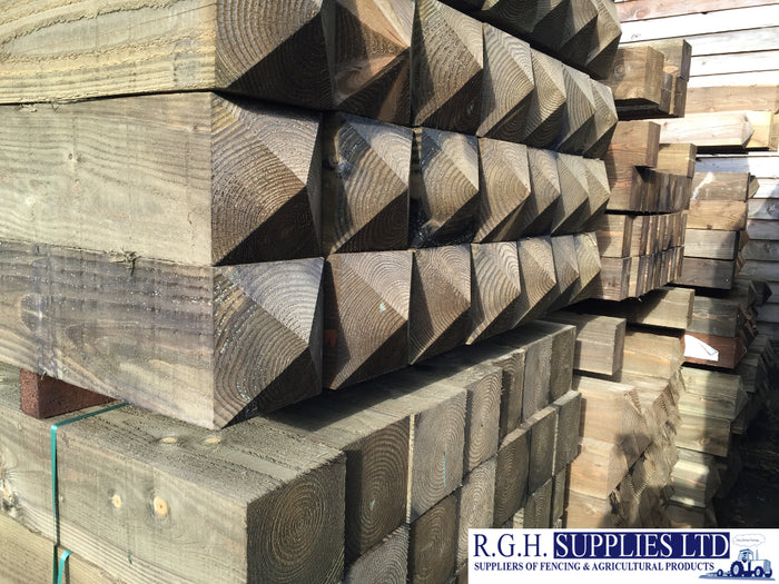 Treated Softwood Timber Gate Posts 10 Feet Long Various Sizes - 4 Way Weathered Top
