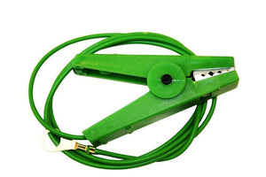 Electric Fence Crocodile Clips - Earth Lead on Green Crocodile Clip