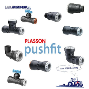 Plasson Pushfit Plumbing Fittings - Couplers Reducers Stop Taps - Water Fittings