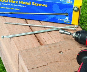 240mm Carpenters Mate Pro Hex Head Self Drilling Screws 8mm Hex Drive Box 100no