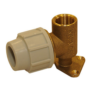 Plasson Mechanical Compression Fittings - Metal Wall Plate Elbow with Female Offtake