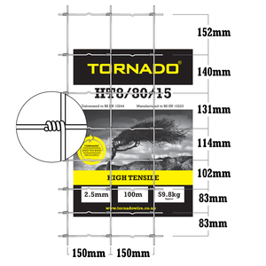 Tornado Wire 100M Roll of HT8/80/15 High Tensile Stockfence Netting Fencing