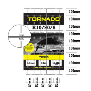 Tornado Wire 50M Roll of R10/90/8 High Tensile Stock Fence X Shaped Knot Strong