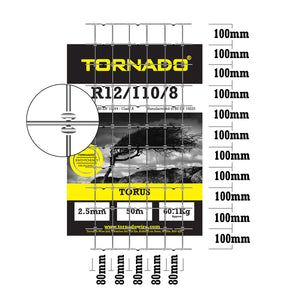 Tornado Wire 50M Roll of R12/110/8 High Tensile Horse Fence X Shaped Knot Equestrian