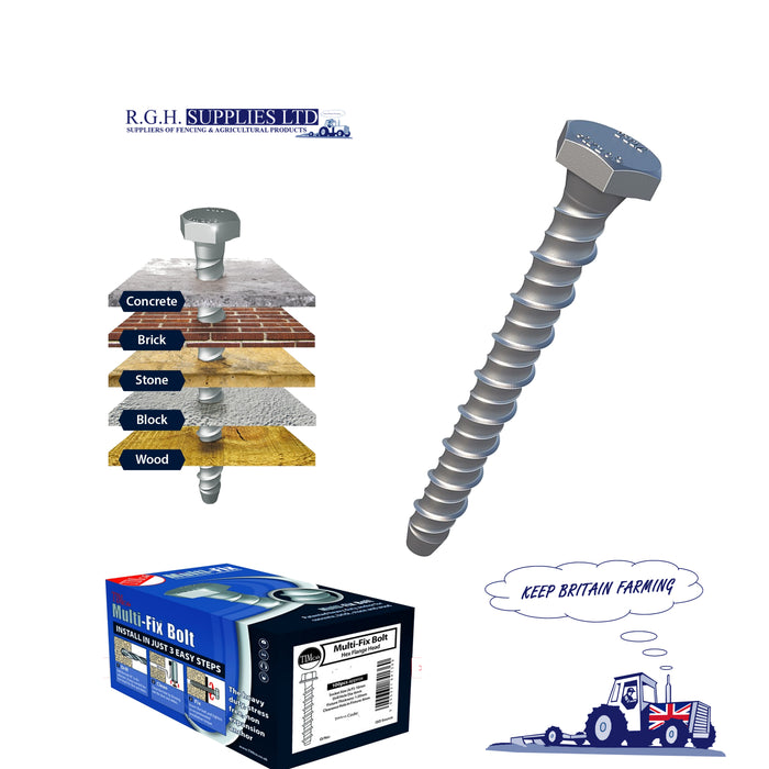 M10 x 100mm Multi-Fix Concrete Bolt - Hex Head (Thunderbolts) - Box 50no