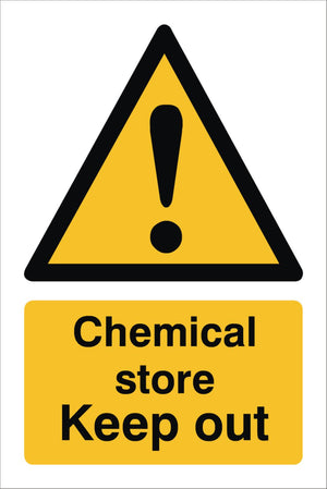 Chemical Store Keep Out Sign 360x240x3mm Rigid Plastic