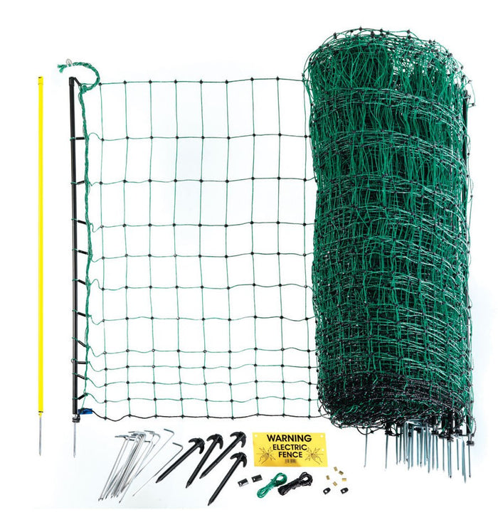 Poultry Net 108cm x 25m - Green. Single spike posts