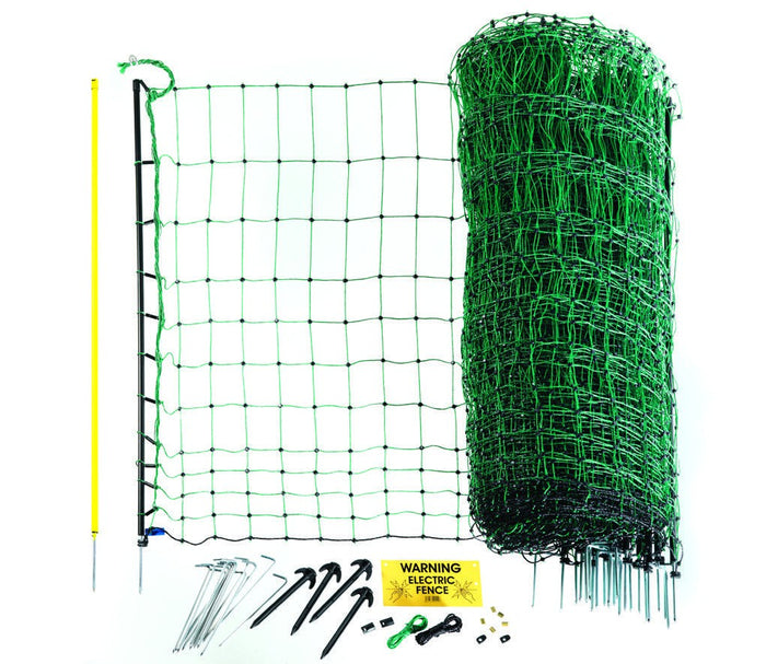 Poultry Net 108cm x 50m - Green. Double spike posts.