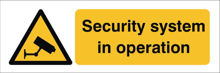 Security Systems In Operation Sign 120x360x3mm Rigid Plastic