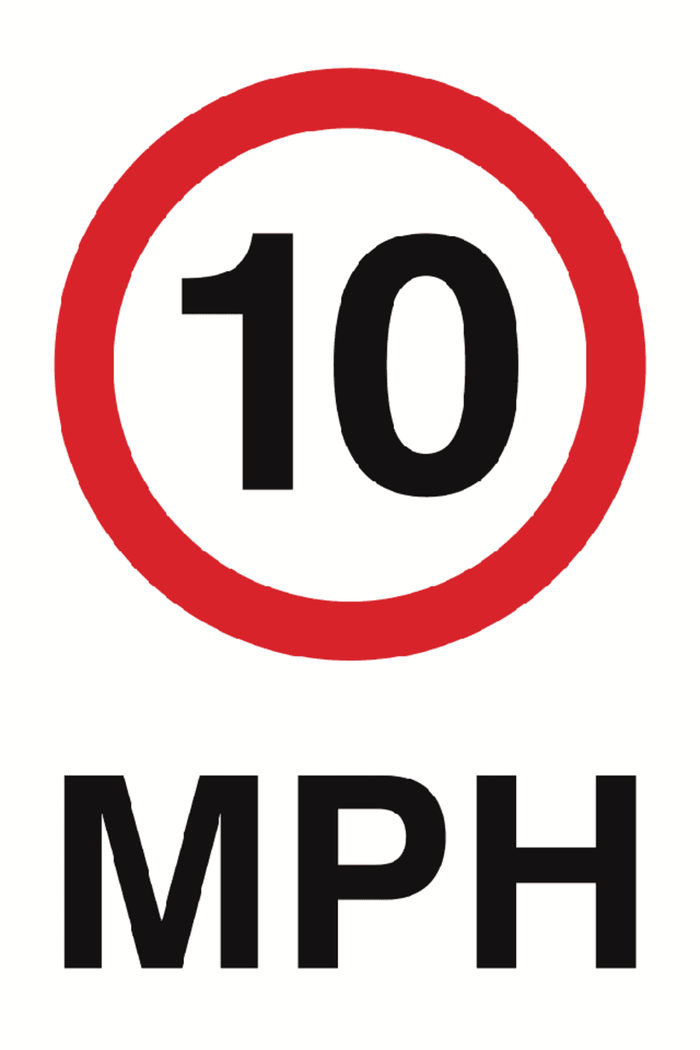 10 MPH Sign 360x240x3mm Rigid Plastic