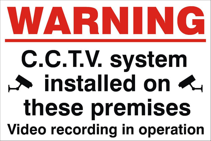 Warning CCTV System Installed On These Premises Sign 240x360x3mm Rigid Plastic