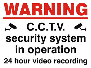 Warning CCTV System In Operation Sign 360x480x3mm Rigid Plastic