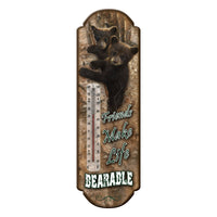 TIN THERMOMETER Horse, Cowboy, Bear