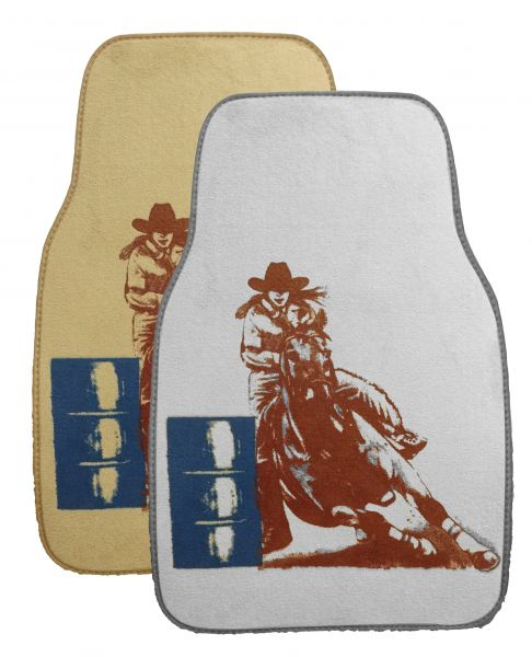 "1533 26"" X 17"" Barrel racer floor mats for car or truck. Sold in pairs."