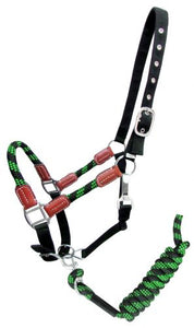 16647  Nylon halter and matching lead rope with leather accents