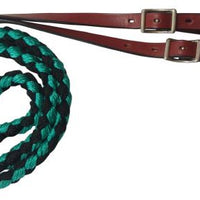 19630 8ft Nylon braided roping rein with leather ends