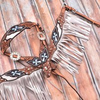 201901 Silver hand painted browband headstall and breast collar set