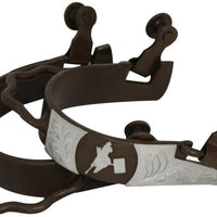 25796 Ladies Size Antique Brown Bumper Spur with Silver Barrel Racer